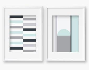 Scandinavian Geometric Print,Nordic Black and Aqua Art,Finnish Design Illustration, Modern home decoration,Scandinavian Interior,Retro Art