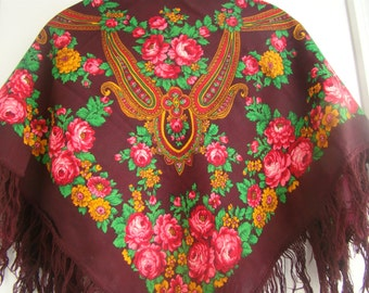 32' Vintage Floral Shawl Fringed Chale Russe Antique Russian Shawl Women Wool Burgundy Ukrainian Shawl Wrap Granny Gifts for Wife Xmas Gift