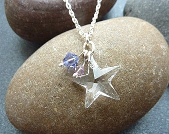 Star Necklace. Swarovski Crystal Star Necklace with Light Amethyst and Tanzanite Swarovski Beads. Star Pendant Jewellery on an 18 inch Chain