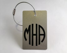 Budle of 2 - Silver and Black Personalized Luggage Tag/ Back Pack Tag
