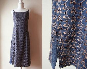 Japanese Vintage Dress - Vintage Handmade Dress - Blue and Brown Embroidered Strap Dress