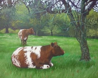 Cattle at Westonbirt, landscape painting in oil