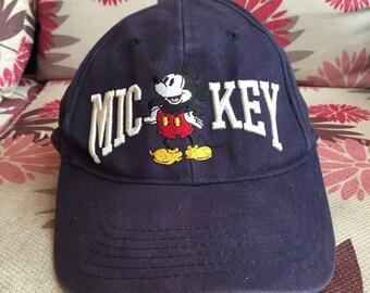 Vintage Mickey Mouse Blue Black Ball Cap