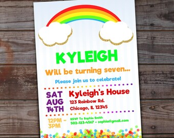 items similar to ct printed rainbow invitations  rainbow, Party invitations