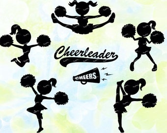 Cheerleader svg, dxf, eps, studio v3, jpg, png, file for Silhouette Cameo, Curio, cut file for cutting machines, instant download