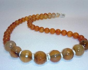 Short necklace, natural Carnelian, 925 Sterling Silver, Minbijou, OOAK