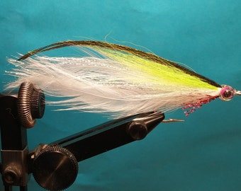Two (2) Chartreuse/White Deceiver Flies