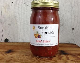 Fresh Canned Salsa, Mild Salsa, 16 Ounce Pint Jar, Amish Made
