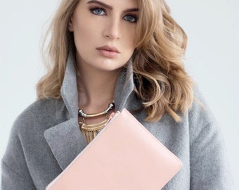 Pink Pastel Nappa Real Leather Rectangle Clutch Bag With Rose Gold Zip, Day & Evening Women's Clutch Bag, Envelope Shape, Handmade in London