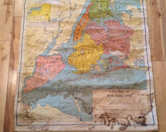 Denoyer Geppert Boroughs of New York City 1965