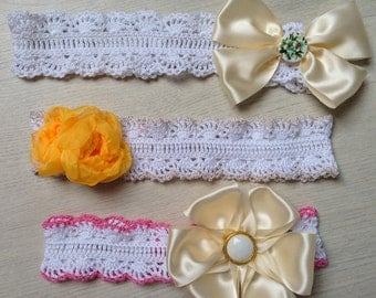 Baby hairband. Crochet headband. Flower headband. Crochet cotton lace head band. Photography prop for baby girl.