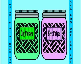 Mason Jar SVG, Cut File SVG, Wood Sign SVG, Silhouette Cameo, Cricut, Commercial, Dill Pickles, Beet Pickles, svg dxf eps png pdf