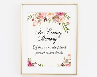 Wedding memory sign etsy for In loving memory templates free