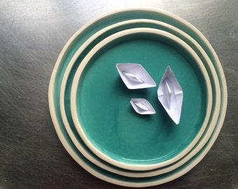 Handmade Ceramic Plates, Set of 3, Dinnerware Collection
