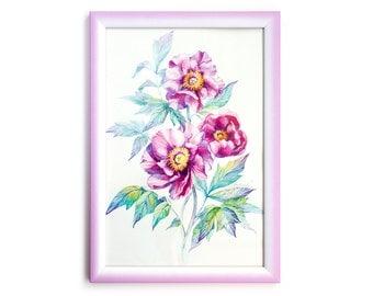 Pink Peony bouquet. Watercolor Art Print 7,8x11,8