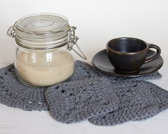 Handmade crochet table doily and drink coasters (set of 4)
