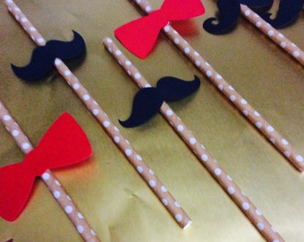 20 Mustache and Bow Tie Straws