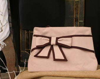 Large Suede Handbag with Bow