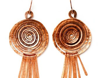 antique spiral copper earrings