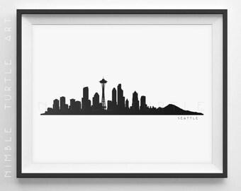 Seattle Skyline Silhouette  -  Printable Skyline  -  Seattle Washington  -  PDF, png, SVG, eps.