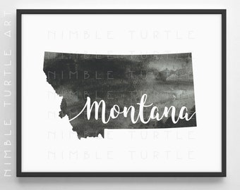 Montana State Outline Watercolor -  Printable Montana Wall Art  -  Comes with Blank State Outline SVG  -  Gallery Wall Art