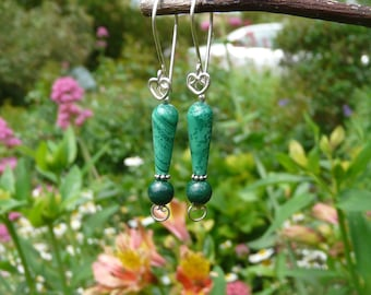 malachite and 925 Silver earrings