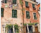 "ORIGINAL Miniature Ink and Watercolour Painting - ""Cinque Terre Wine Bar"" (Monterosso al Mare, Liguria, Italy)/Mini Vacations Series"