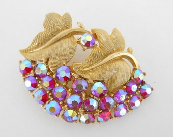 Brooch Red Rhinestones With Gold Finish