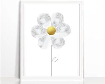 Flowers, Gold Sunflower, Wall Decor, Watercolor, Wall deco, Art Printable, Scandinavian modern, Art Illustration Art, Kids wall Art