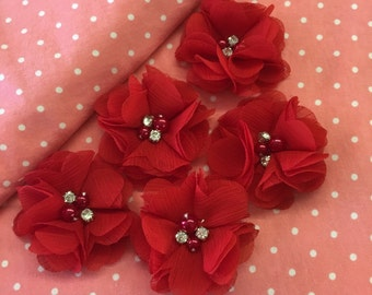 """2.5"""" Red Chiffon Flower with Pearl and Rhinestone Center set of 5"""