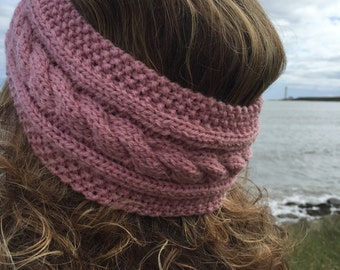 Pink Hand Knitted Headband,Ear Warmer,Cable Pattern,Handmade,Hand Knitted,Knitted Headband,Great Gift