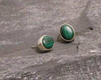 925 Sterling Silver malachite earrings - Tiny silver malachite ear studs