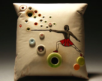 The FENCER (porcelain wall pillow)