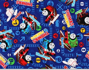 "Thomas the Train, Thomas and Friends Fabric made in Japan, Half Meter 50cm by 108cm or 20"" by 43"""