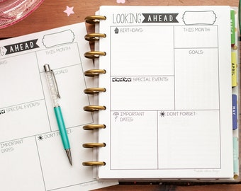 LOOKING AHEAD Happy Planner Printed Inserts, Happy Planner Dashboard, Create 365 Planner Reflection Inserts, Happy Planner Month Inserts