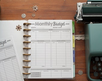 MONTHLY BUDGET Happy Planner Printed Inserts, Happy Planner Finance Reporting Forms, MAMBI Create 365 Planner Inserts Refills, Budgeting