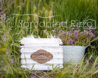 Digital Newborn Photography Background - Flower Crate (Set of 3)