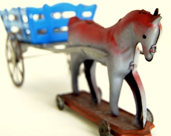 Vintage 40s tin toy horse wagon on wheels, antique metal farm toys toys cart carriage 1940s Portuguese
