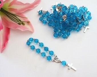 Baptism favors, communion favors, recuerditos de bautizo, denary, blue rosary, denaries,