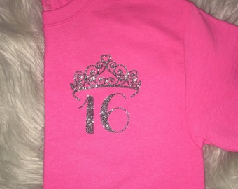 Tiara Birthday girls/womens shirt
