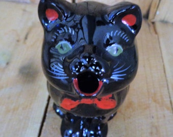 Vintage Shafford Japan Red Ware Black Cat Creamer Redware