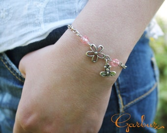 a set of silver bees, delicate bracelet ,set charm, gift for her, gift, bracelet and earrings