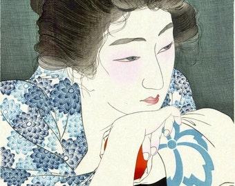 Ukiyo-e reprint,Preboarded,a lady,Torii Kotondo,woodblock,decor,Japanese,tk7