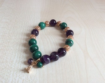 Tres chic Bracelet with amethyst and Malachite!