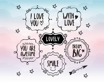 Love elements - Love SVG - Vector frames - Vinyl Decal Cutting File - Clipart in Svg, Eps, Dxf, Png Format for Cricut and Silhouette cutting