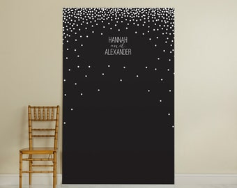 Personalized Black and White Photo Backdrop - Dots