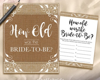 How Old Was The Bride To Be Bridal Shower Game - Printable Rustic Burlap Bridal Shower Game - Bachelorette Party Games 002