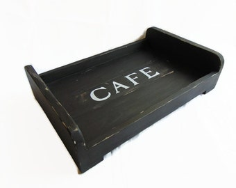 Wooden tray, industrial decoration
