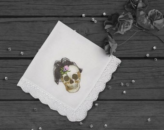 Bridal Handkerchief, Skull Handkerchief, Bride Handkerchief, Goth Wedding, Halloween Wedding, Wedding Hankie, Ladies Hankie, Skull Accessory