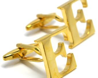 Gold Letters E Initial Cufflinks Initials Cufflink Set - FREE Elegant Box